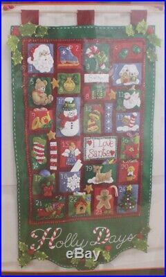 NEW Bucilla Holly Days Advent Calendar Felt Applique Christmas Kit 85265 15x27