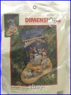 NEW Nativity Christmas Stocking Dimensions 1996 SEALED BAG linda powell
