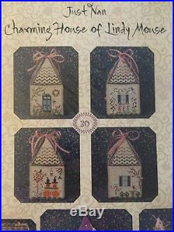 NEW RARE Just Nan Charming House of Lindy Mouse Silver Needle Cross Stitch Kit