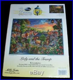 NIP DISNEY DREAMS THOMAS KINKADE LADY & THE TRAMP CROSS STITCH KIT 16 x 12
