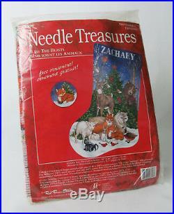 Needle Treasures Bless the Beasts Christmas Stocking Needlepoint Kit RARE
