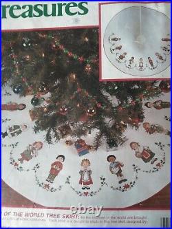Needle Treasures Children of the World Christmas Tree skirt counted cross stitch