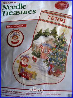 Needle Treasures Christmas Needlepoint Stocking Kit, SANTA'S WORKSHOP, 06858,16