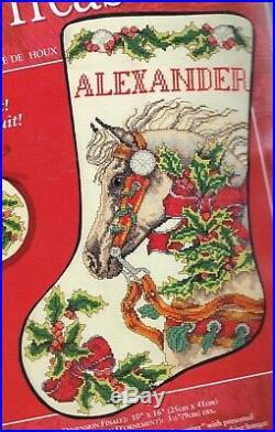Needle Treasures Holly Horse Holiday Christmas Cross Stitch Stocking Kit 08537