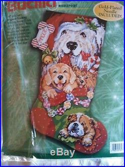 PUPPIES FOR CHRISTMAS needlepoint stocking kit Bucilla Gillum Sealed