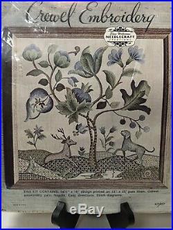 RARE Elsa Williams Crewel Embroidery Kit SHERWOOD JACOBEAN FLORAL #KC607 READ