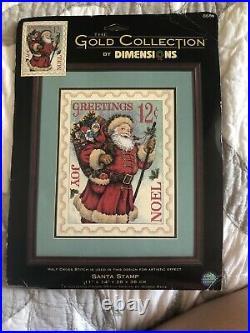 RARE Gold Collection Dimensions Donna Race Santa Stamp Cross Stitch Design Kit