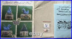 RARE NEW Just Nan Queen's Bluebird Box Chart-Linen-Charm-Finishing Kit