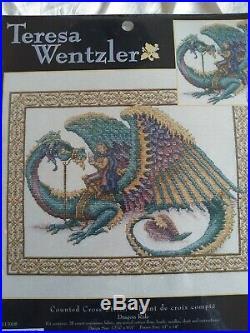 RARE Teresa Wentzler Dragon Ride counted cross stitch kit SEALED