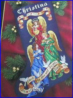 Rare Dimensions Herald Angels Christmas Stocking Kit 8531'97 Gold Collection