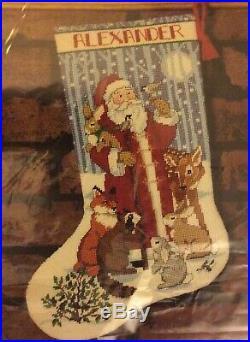 SANTA and FRIENDS 16 Needlepoint Christmas Stocking Kit, 12m Sunset 19006