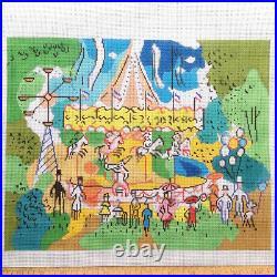 Sally Corey Handpainted Needlepoint canvas KIT Paris Carousel silk threds France