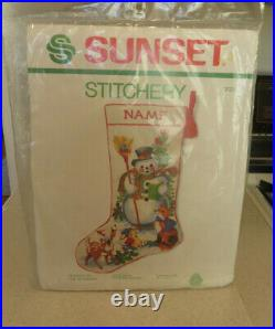 Sunset Stitchery Friends of the Snowman Christmas Stocking Crewel Kit in Package
