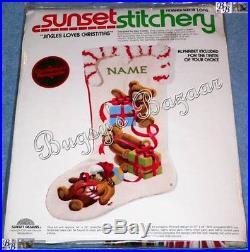 Sunset Stitchery JINGLES LOVES CHRISTMAS Bear Crewel Stocking Kit