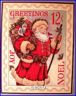 Super Rare Vintage SANTA STAMP Christmas Cross Stitch KIT OOP