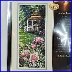 The Gold Collection Dimensions Paradise Found Cross Stitch Gazebo Roses 8×18