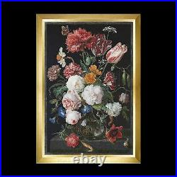 Thea Gouverneur 785-05 Still Life with flowers in a glass vase Cross stitch