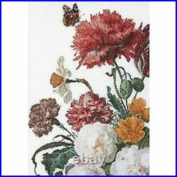 Thea Gouverneur 785A Still Life with flowers in a glass vase Cross stitch