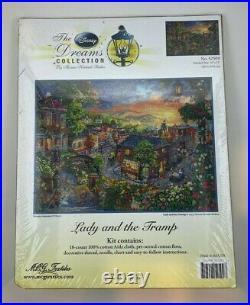 Thomas Kinkade Disney Dreams Cross Stitch Kit LADY AND THE TRAMP #52509 HTF
