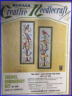 VINTAGE Bucilla Crewel Embroidery Kit BIRDS on TREE BRANCH Pair Of Frames UNUSED