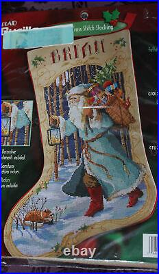 VTG Bucilla FATHER CHRISTMAS Counted Cross Stitch Stocking Kit Rossi #84636