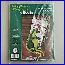 VTG Bucilla Felt Stitchery Christmas Stocking Kit # 32708 Dinosaur Santa 18 NOS
