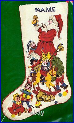VTG Dimension Old Fashioned Santa Elves Toys Christmas Crewel Stocking Kit 8008