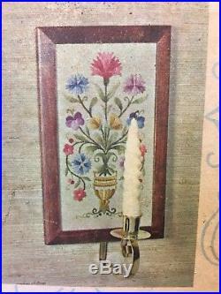 Vintage Elsa Williams Heritage CREWEL EMBROIDERY KIT Candle Sconces