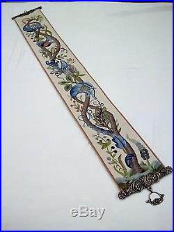 Vintage Jacobean Finished Elsa Williams Kit Bell Pull Floral Crewel Embroidery