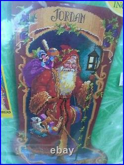 Vintage Needlepoint Bucilla Father Christmas Stocking #60769 Complete Kit 1999