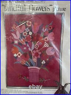 Vintage Paragon FANCIFUL FLOWERS Crewel Embroidery Kit NIP 18x24 RARE HTF