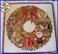Vtg 70s Crewel Embroidery KIT Christmas Wreath Fantasy SUNSET 16 wool MINT