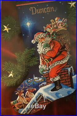 Vtg DIMENSIONS GOLD COLLECTION SANTA CHRISTMAS STOCKING CROSS STITCH KIT New #B2