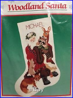 Vtg Dimensions Woodland Santa Christmas Stocking Kit Crewel Embroidery #8069 NIP