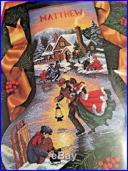 Vtg Needlepoint Stocking Kit Victorian MOONLIGHT SKATERS Dimensions Christmas