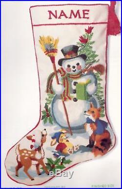 Vtg Sunset Friends of the Snowman Woodland Christmas Crewel Stocking Kit 2029