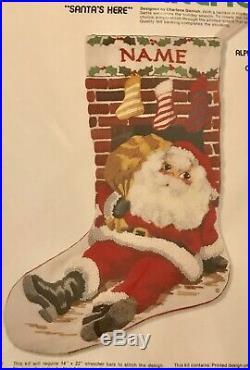 Vtg Sunset Santas Here Christmas Eve Delivery Chimney Crewel Stocking Kit 2020