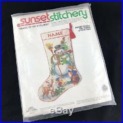 Vtg Sunset Stitchery FRIENDS OF THE SNOWMAN Christmas Stocking Crewel Kit Fox